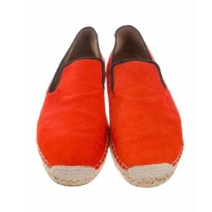 Celine Orange Ponyhair Espadrille Flats Shoes 9